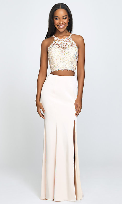 Image of Madison James long two-piece formal prom dress. Style: NM-19-201 Front Image