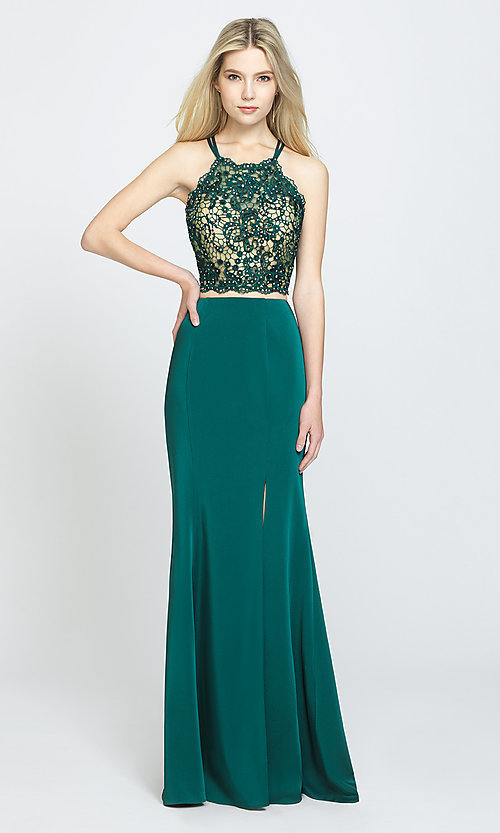 Image of Madison James long two-piece formal prom dress. Style: NM-19-201 Detail Image 2