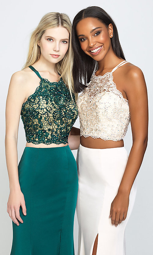 Image of Madison James long two-piece formal prom dress. Style: NM-19-201 Detail Image 3