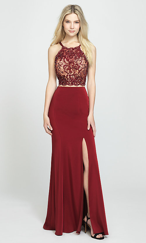 Image of Madison James long two-piece formal prom dress. Style: NM-19-201 Detail Image 1