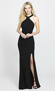 Image of high-neck long Madison James prom dresses with train. Style: NM-19-203 Detail Image 3