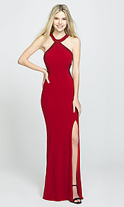 Image of high-neck long Madison James prom dresses with train. Style: NM-19-203 Front Image
