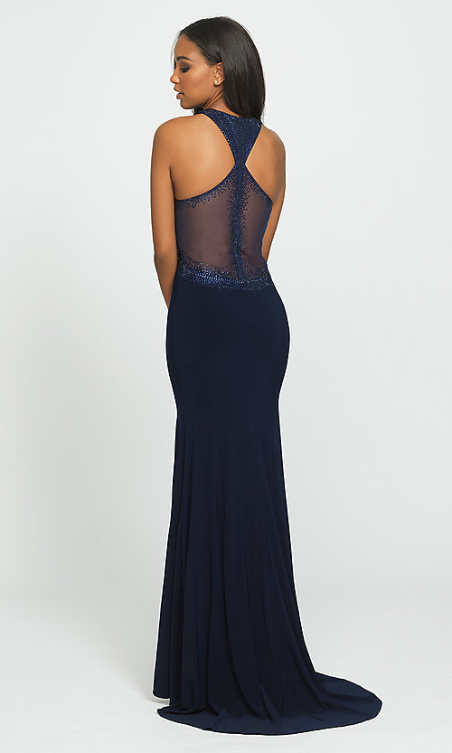 Image of high-neck long Madison James prom dresses with train. Style: NM-19-203 Back Image