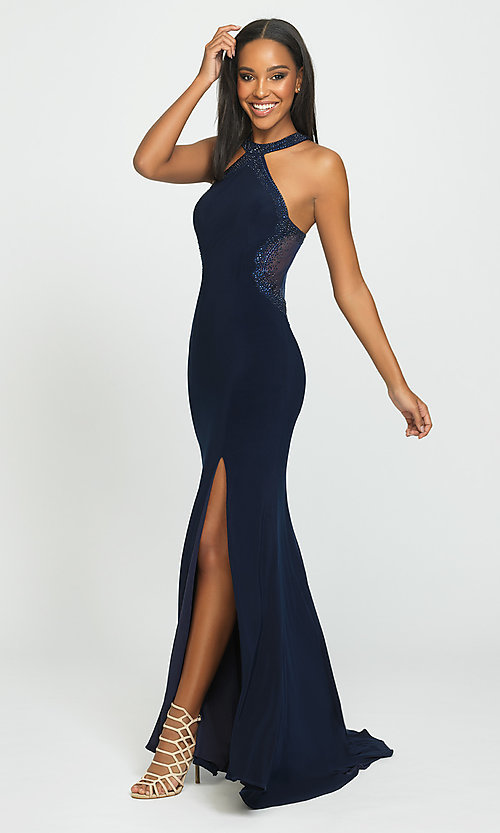 Image of high-neck long Madison James prom dresses with train. Style: NM-19-203 Detail Image 1