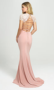 Image of designer long two-piece prom dress with sequins. Style: NM-19-207 Back Image