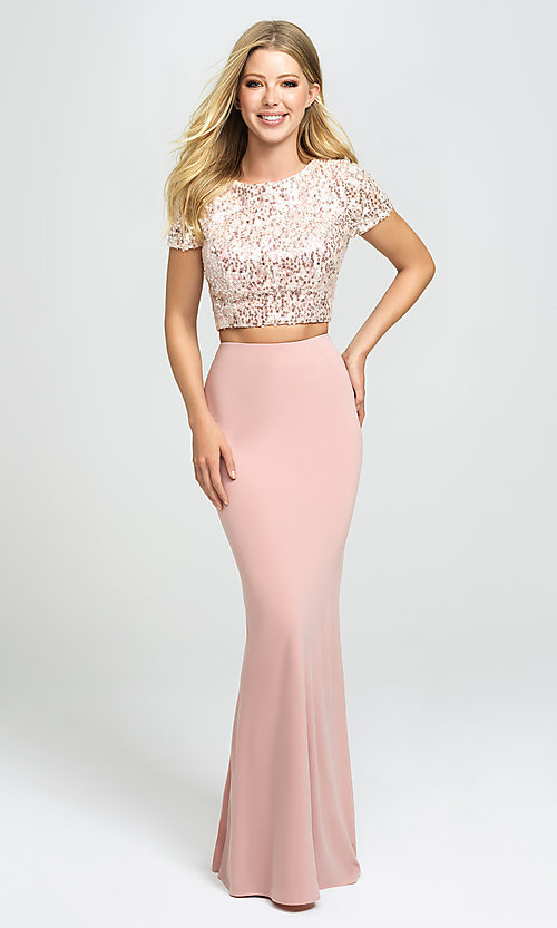 Image of designer long two-piece prom dress with sequins. Style: NM-19-207 Detail Image 1