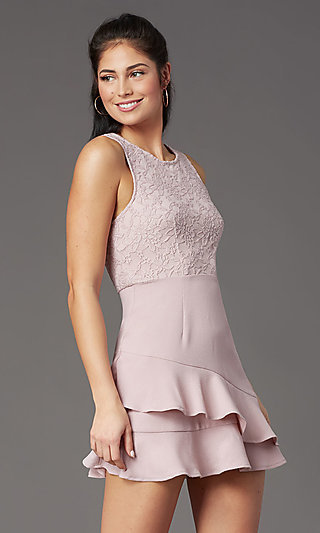 Sleeveless Mauve Short Graduation Dress