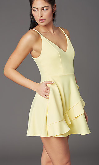 Short V-Neck Graduation Party Lemon-Yellow Dress