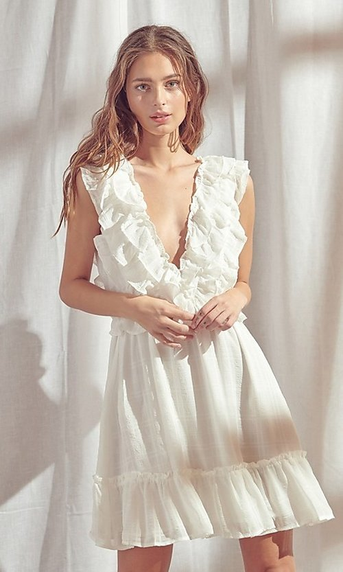 Image of v-neck short white summer dress with ruffles. Style: STO-BD1327B Front Image