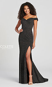 Image of Collette for Mon Cheri glitter fitted formal dress. Style: TB-CL12028 Detail Image 3