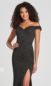 Image of Collette for Mon Cheri glitter fitted formal dress. Style: TB-CL12028 Detail Image 4