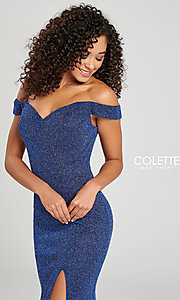Image of Collette for Mon Cheri glitter fitted formal dress. Style: TB-CL12028 Detail Image 1