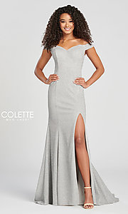 Image of Collette for Mon Cheri glitter fitted formal dress. Style: TB-CL12028 Detail Image 5