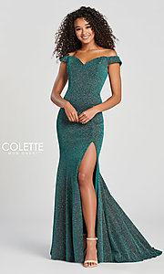 Image of Collette for Mon Cheri glitter fitted formal dress. Style: TB-CL12028 Detail Image 7