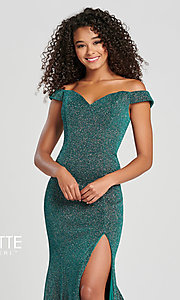 Image of Collette for Mon Cheri glitter fitted formal dress. Style: TB-CL12028 Detail Image 8