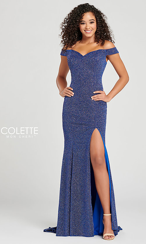Image of Collette for Mon Cheri glitter fitted formal dress. Style: TB-CL12028 Front Image