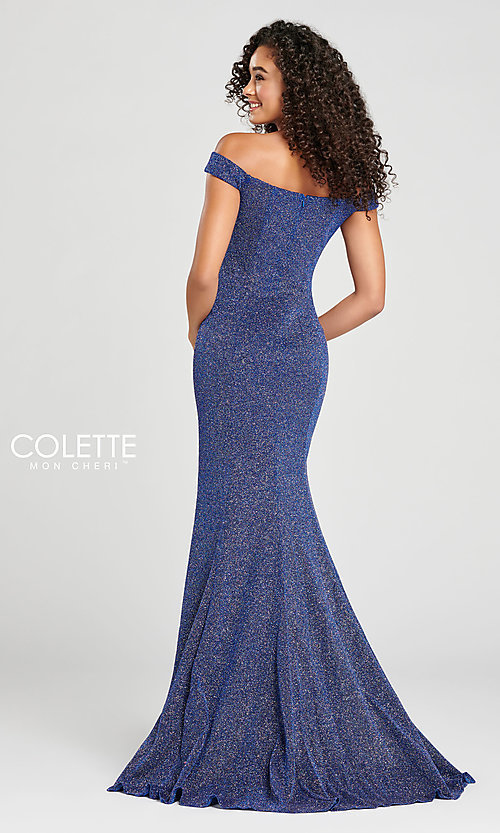 Image of Collette for Mon Cheri glitter fitted formal dress. Style: TB-CL12028 Back Image