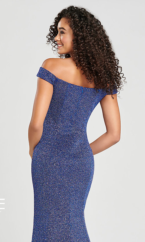 Image of Collette for Mon Cheri glitter fitted formal dress. Style: TB-CL12028 Detail Image 2