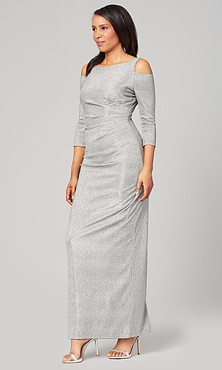 Pewter Silver Long MOB Glitter Dress