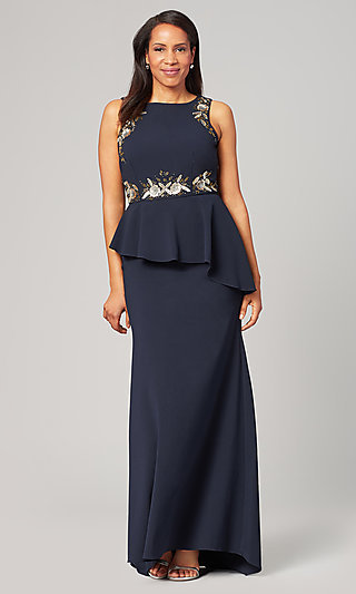 Navy Blue Formal MOB Peplum Gown