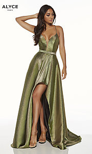 Image of metallic formal prom dress with high-low skirt. Style: AL-60712 Front Image