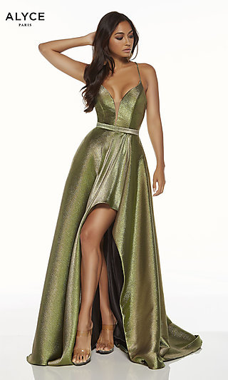 Metallic Formal Prom Dress with High-Low Skirt