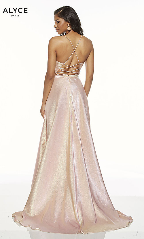 Image of metallic formal prom dress with high-low skirt. Style: AL-60712 Back Image
