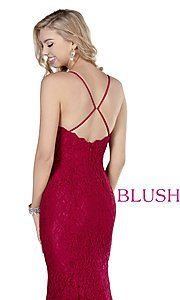 Image of long lace sweetheart formal prom dress by Blush. Style: BL-11905 Detail Image 2