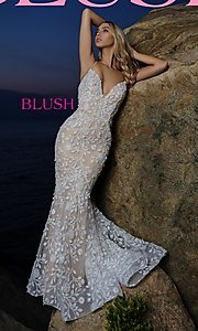Image of lace-applique long sexy formal prom dress by Blush. Style: BL-11979 Front Image