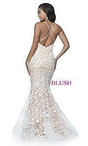 Image of lace-applique long sexy formal prom dress by Blush. Style: BL-11979 Back Image