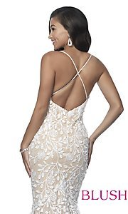 Image of lace-applique long sexy formal prom dress by Blush. Style: BL-11979 Detail Image 2