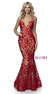 Image of lace-applique long sexy formal prom dress by Blush. Style: BL-11979 Detail Image 3