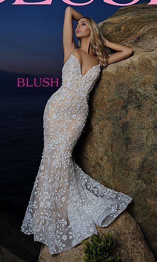 Lace-Applique Long Sexy Formal Prom Dress by Blush