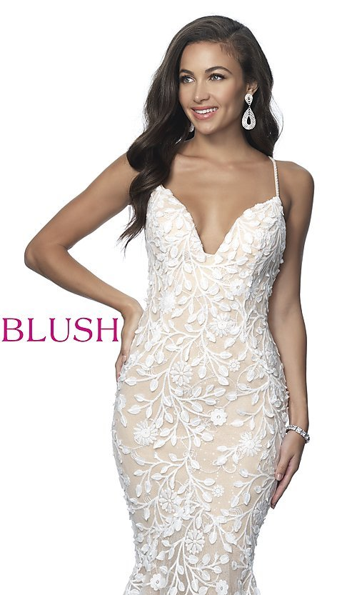 Image of lace-applique long sexy formal prom dress by Blush. Style: BL-11979 Detail Image 1