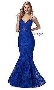 Image of iNtrigue by Blush long lace formal prom dress. Style: BL-IN-701 Detail Image 1