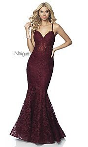 Image of iNtrigue by Blush long lace formal prom dress. Style: BL-IN-701 Detail Image 3