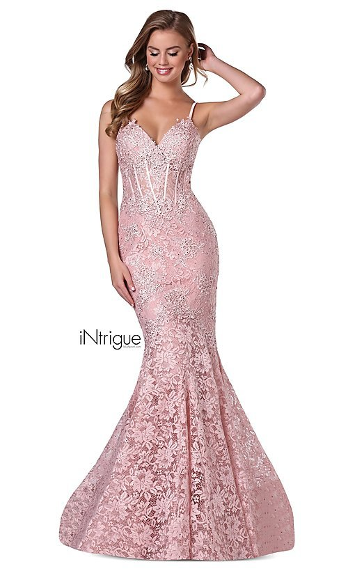 Image of iNtrigue by Blush long lace formal prom dress. Style: BL-IN-701 Front Image