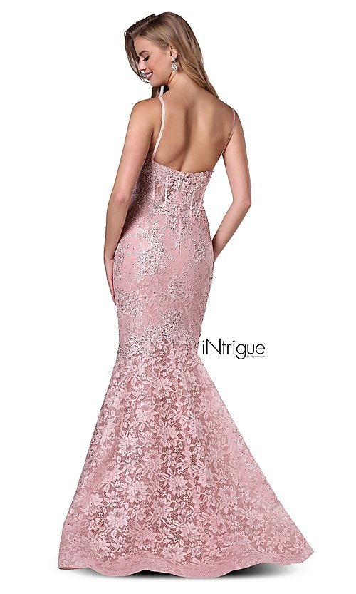 Image of iNtrigue by Blush long lace formal prom dress. Style: BL-IN-701 Back Image