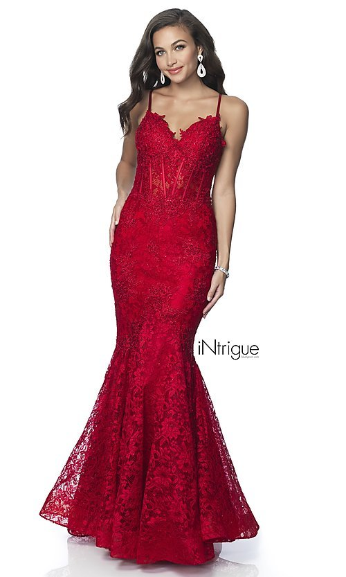 Image of iNtrigue by Blush long lace formal prom dress. Style: BL-IN-701 Detail Image 6