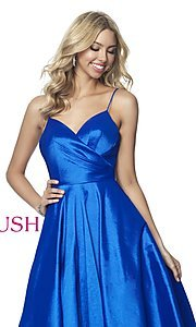 Image of long v-neck taffeta formal prom dress by Blush. Style: BL-5830 Detail Image 1