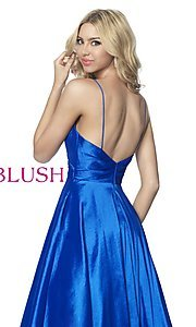 Image of long v-neck taffeta formal prom dress by Blush. Style: BL-5830 Detail Image 2