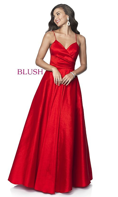 Image of long v-neck taffeta formal prom dress by Blush. Style: BL-5830 Detail Image 3