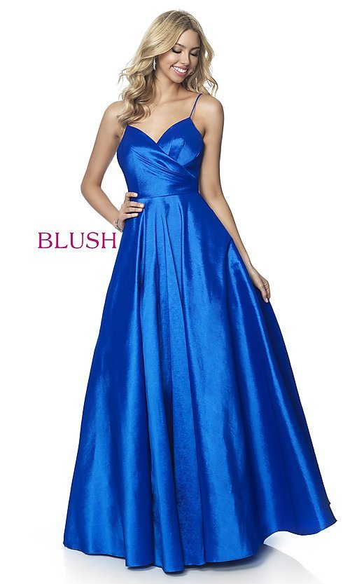 Image of long v-neck taffeta formal prom dress by Blush. Style: BL-5830 Front Image