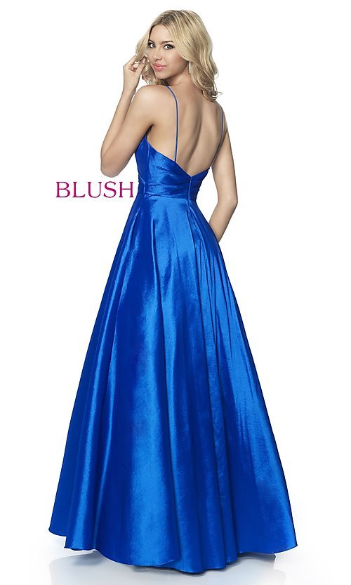 Image of long v-neck taffeta formal prom dress by Blush. Style: BL-5830 Back Image