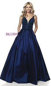 Image of beaded-bodice long taffeta formal prom dress. Style: BL-5836 Front Image