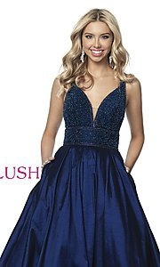 Image of beaded-bodice long taffeta formal prom dress. Style: BL-5836 Detail Image 1