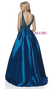 Image of beaded-bodice long taffeta formal prom dress. Style: BL-5836 Back Image