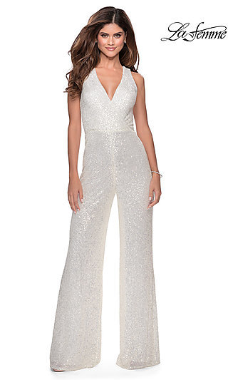 Long La Femme Sequin Jumpsuit with a Deep V-Neck