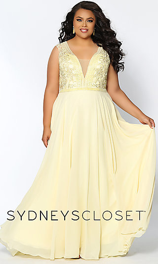 V-Neck Pastel Plus Formal Dress with Embroidery
