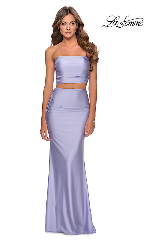 Image of long two-piece strapless La Femme prom dress. Style: LF-28703 Detail Image 2